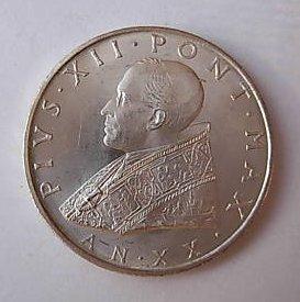 500 Lire Argento Pio XII 1958 Città del Vaticano